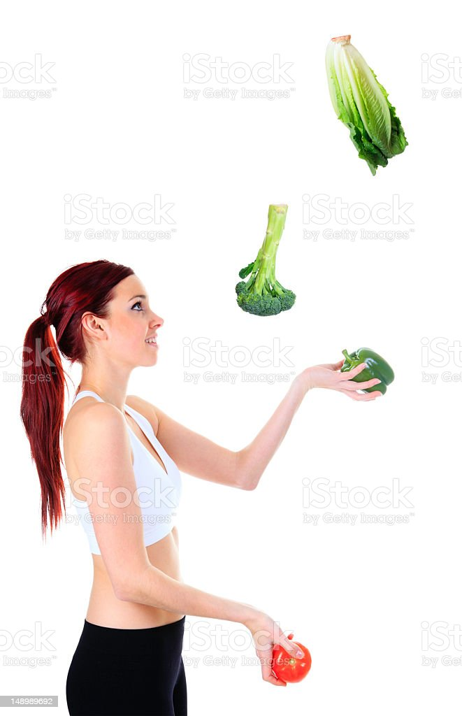 Woman Juggle Vegetable royalty-free stock photo