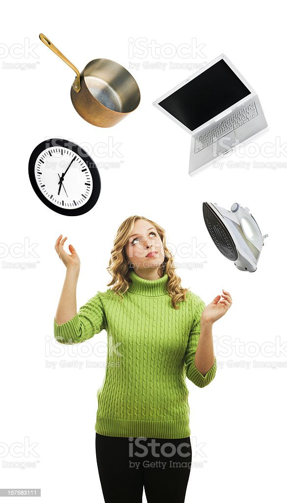 Woman Juggling, Busy Multi-tasking and Balancing Occupation and Time Stress stock photo