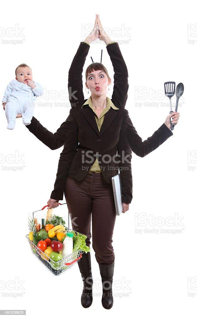 woman juggling fruit stock photo