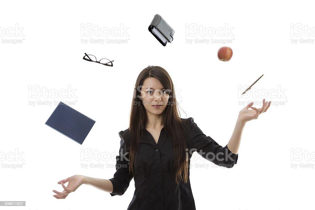 woman juggling stock photo