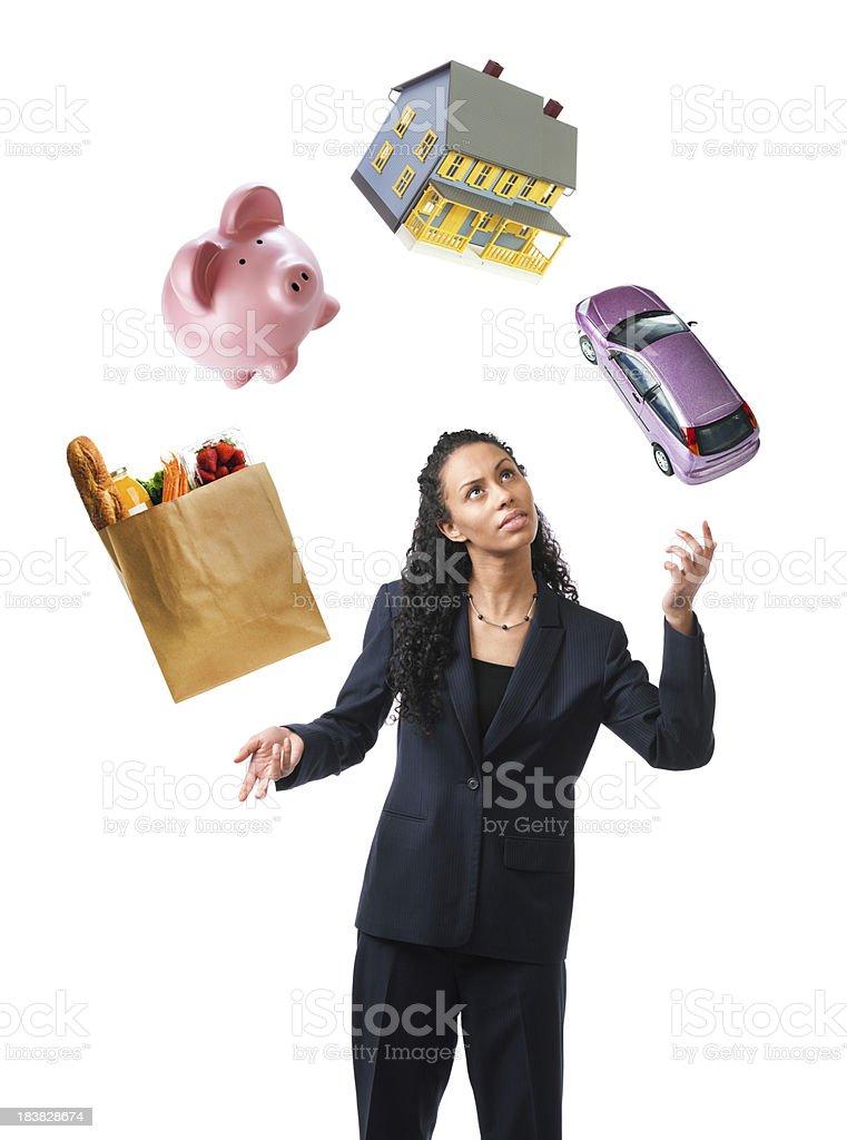 Woman Juggling Stress and Debts, Multi-tasking to Balance Finances, Savings stock photo