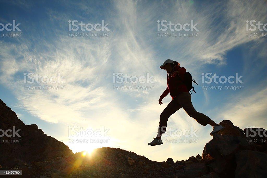 Woman jump stock photo
