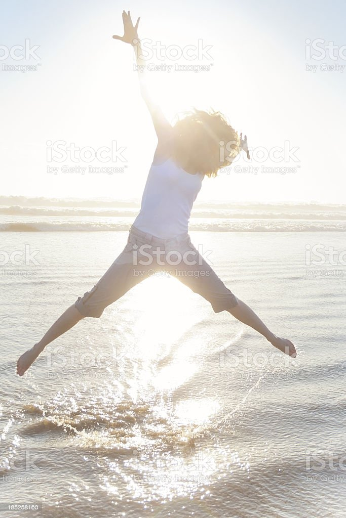 Woman Jumping For Joy royalty-free stock photo