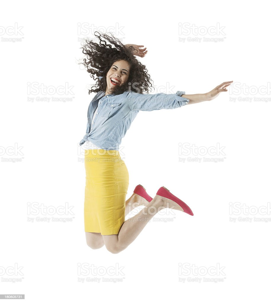 Woman jumping in excitement royalty-free stock photo