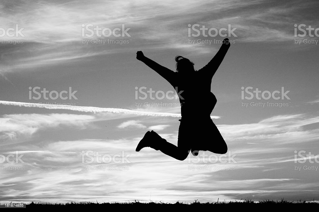 Woman Jumping Joy royalty-free stock photo