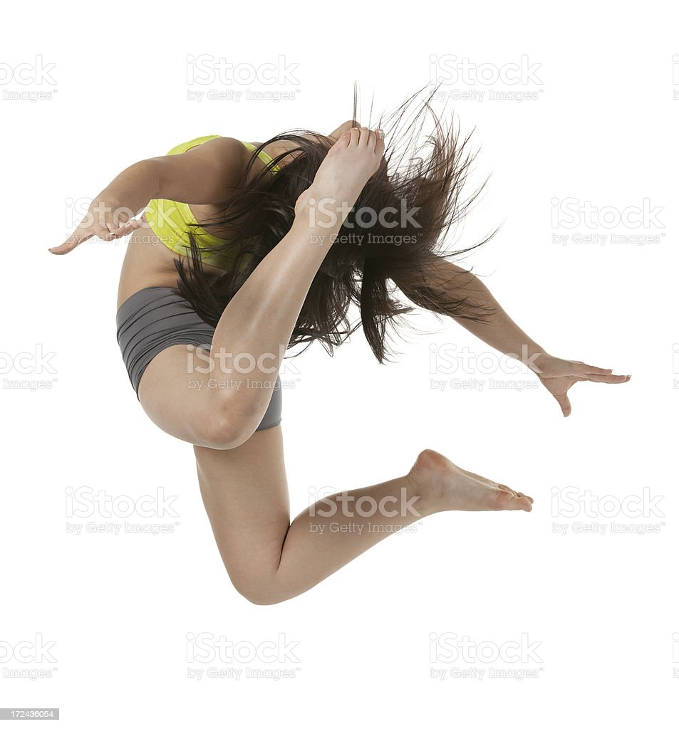 Woman jumping with arms outstretched royalty-free stock photo