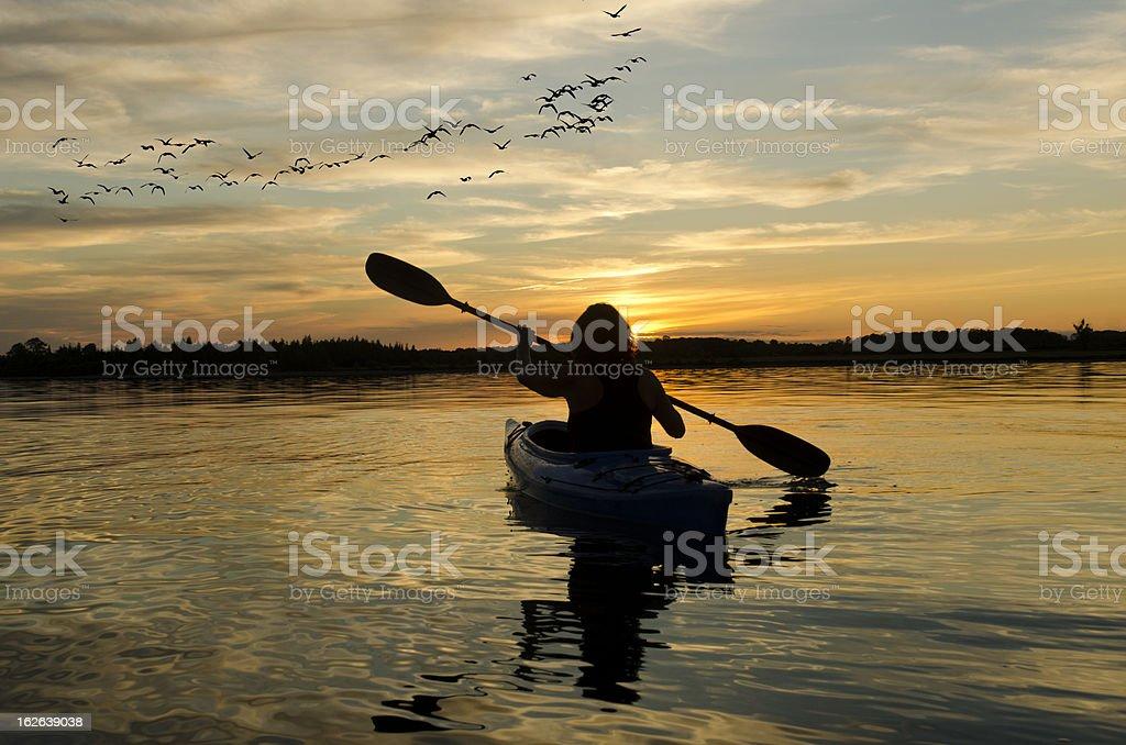 Woman Kayaking at Sunset on Lake Ontario stock photo