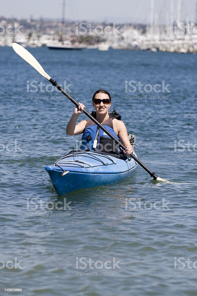 Woman Kayaking royalty-free stock photo