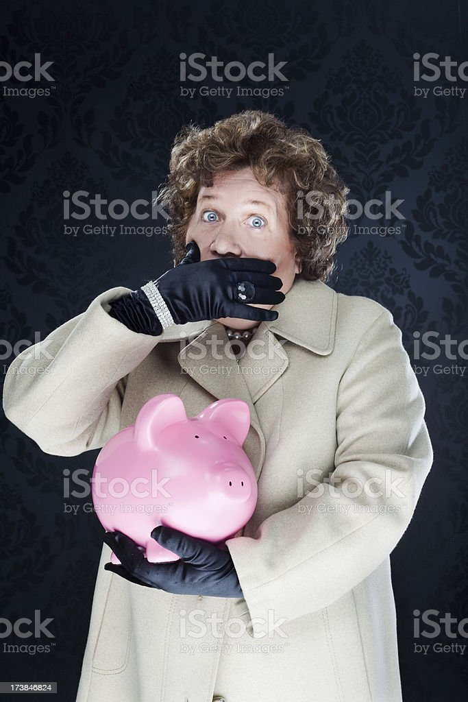 Woman Keeping Money Secrets royalty-free stock photo
