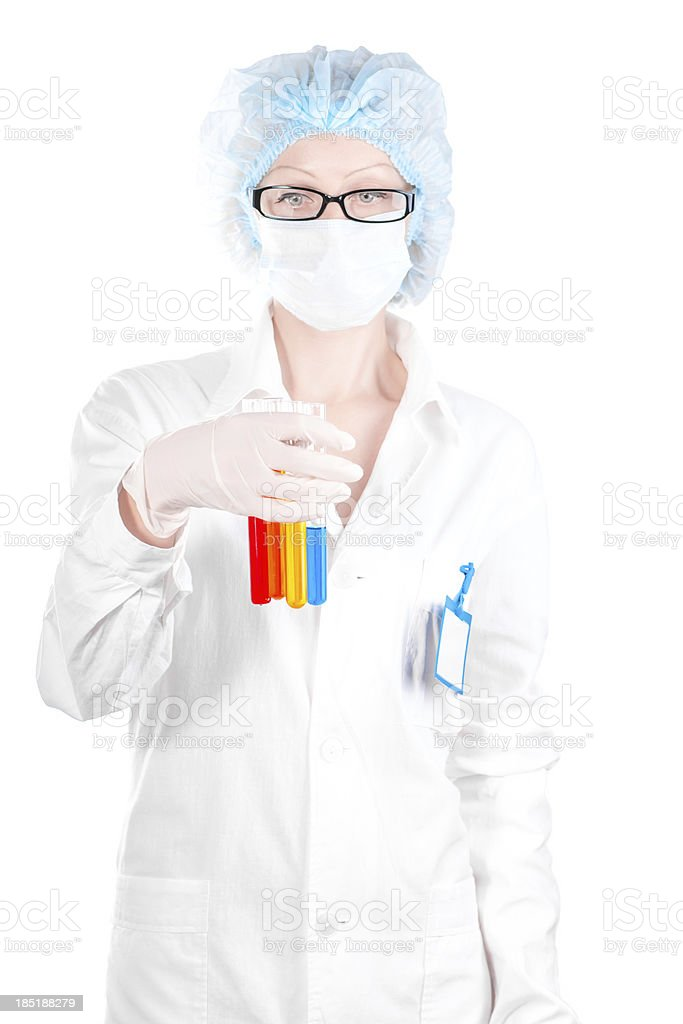 Woman Laboratory technician with test tubes in hand stock photo