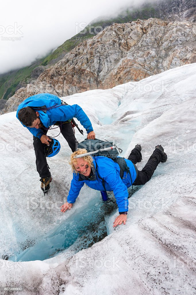 Woman laughing after polar plunge stock photo