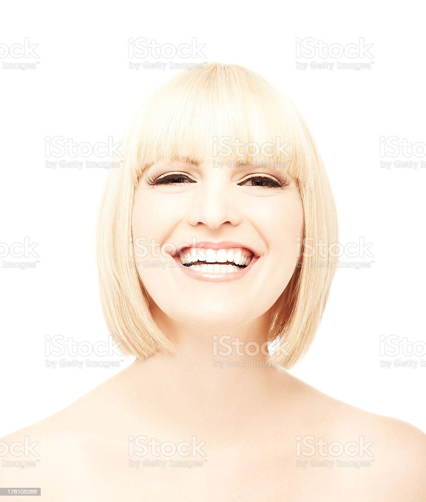Woman Laughing at Camera stock photo