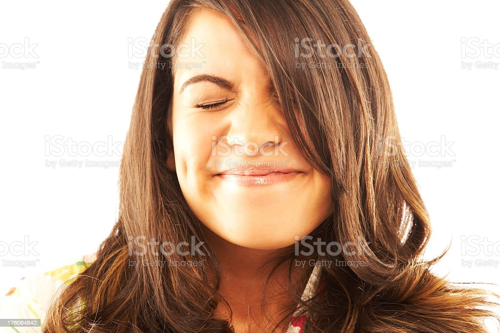 Woman Laughing with Closed Eyes royalty-free stock photo