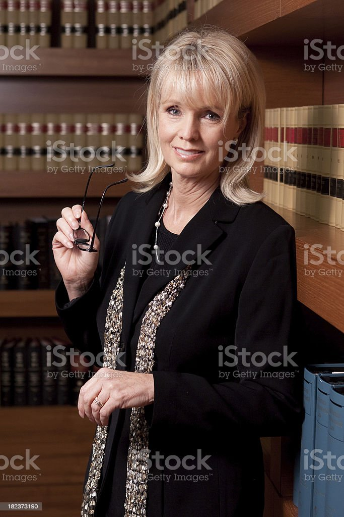 Woman Lawyer in  Library royalty-free stock photo