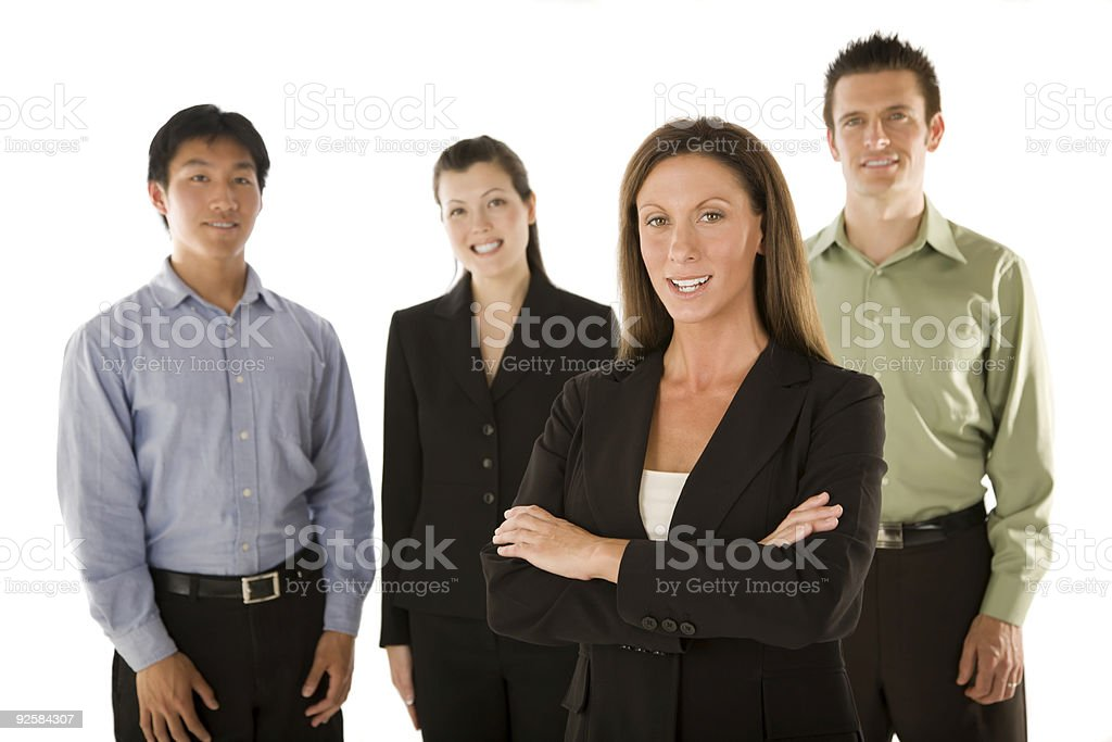 Woman leading business team royalty-free stock photo