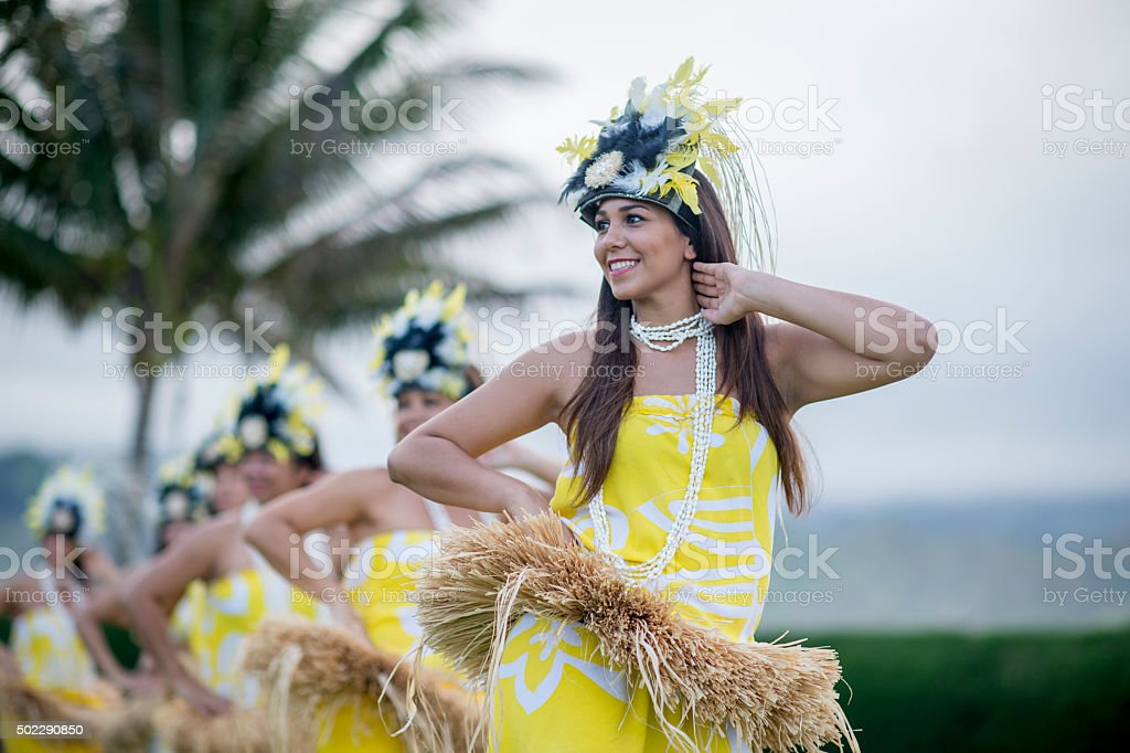 Woman Leading the Luau Performance stock photo
