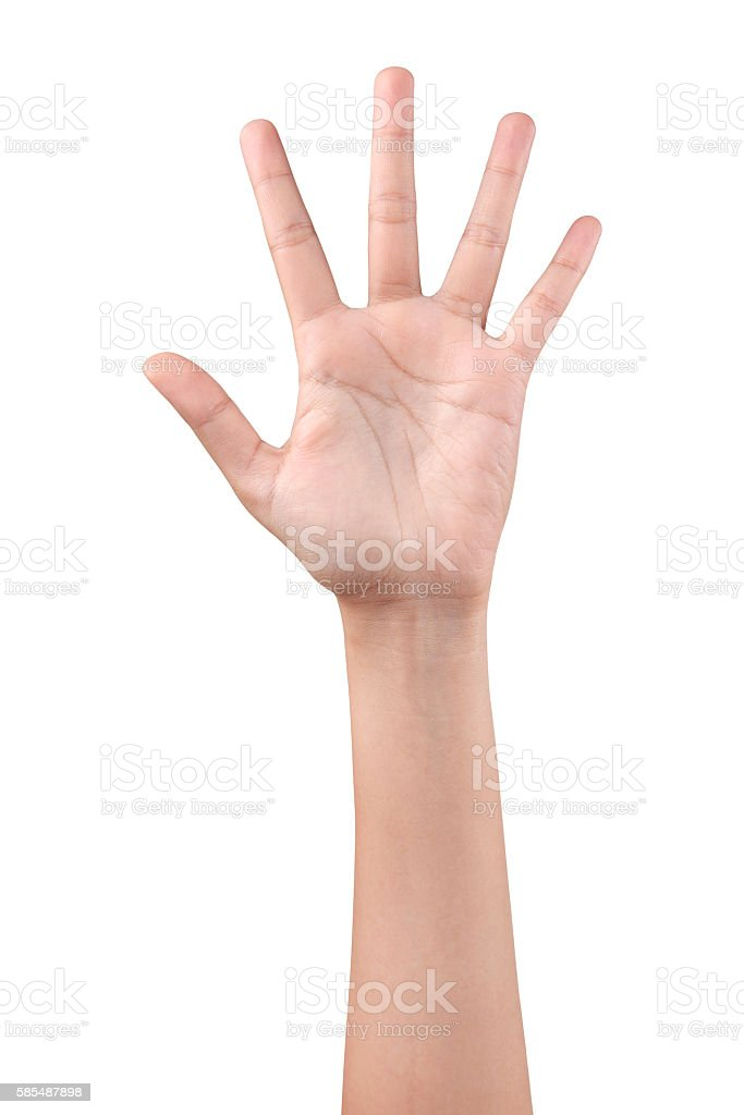 Woman left hand showing the five fingers stock photo