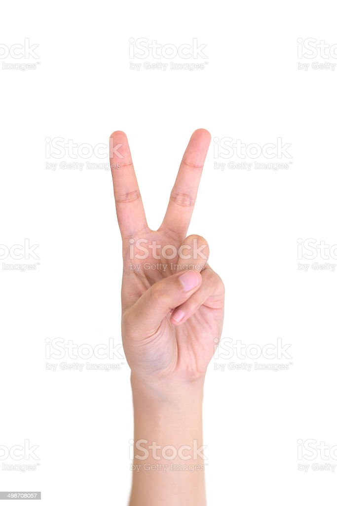 Woman left hand showing the two fingers isolated. stock photo