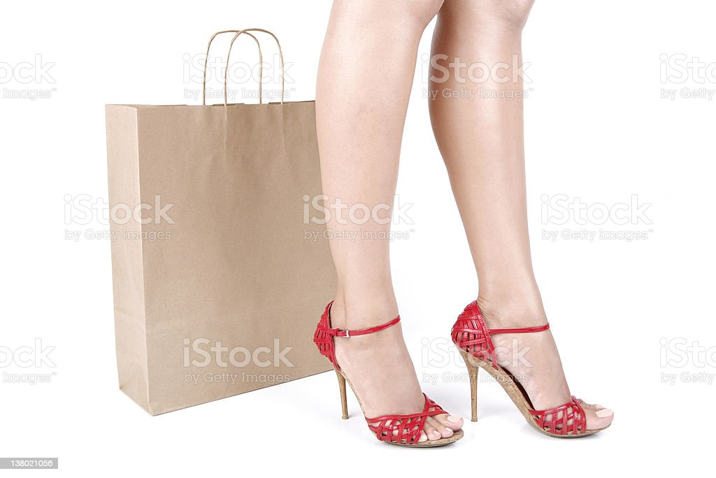 Woman Legs and Shopping Bag royalty-free stock photo