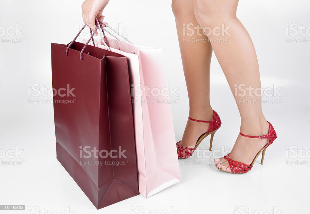 Woman Legs and Shopping Bags royalty-free stock photo