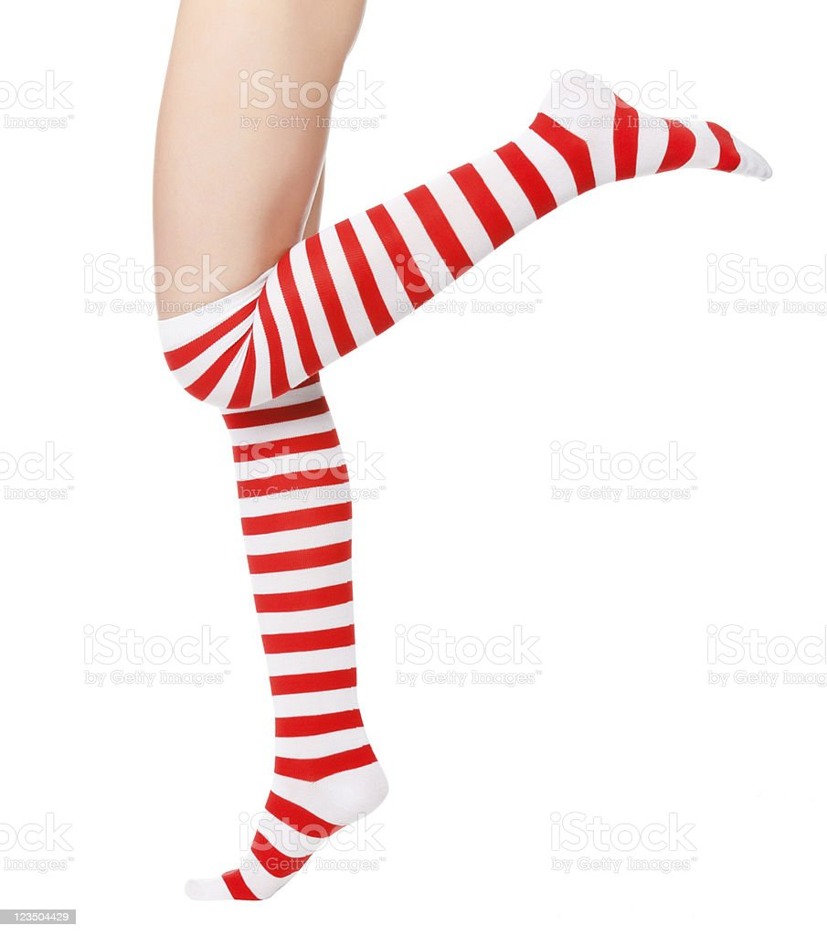 woman legs in color red socks royalty-free stock photo