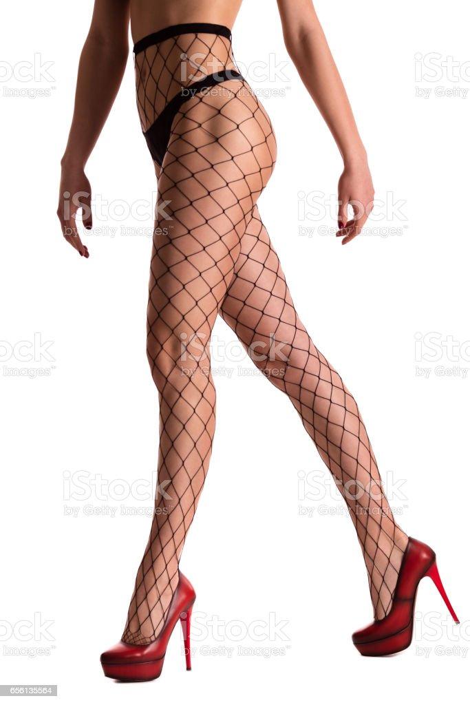 Woman legs in stockings stock photo