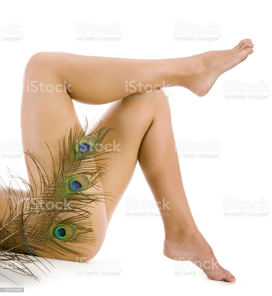 Woman legs with peacock fearther over white background. royalty-free stock photo