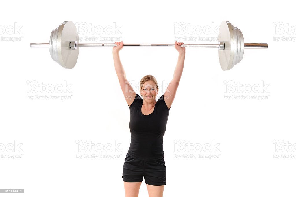 Woman Lifting Barbell royalty-free stock photo