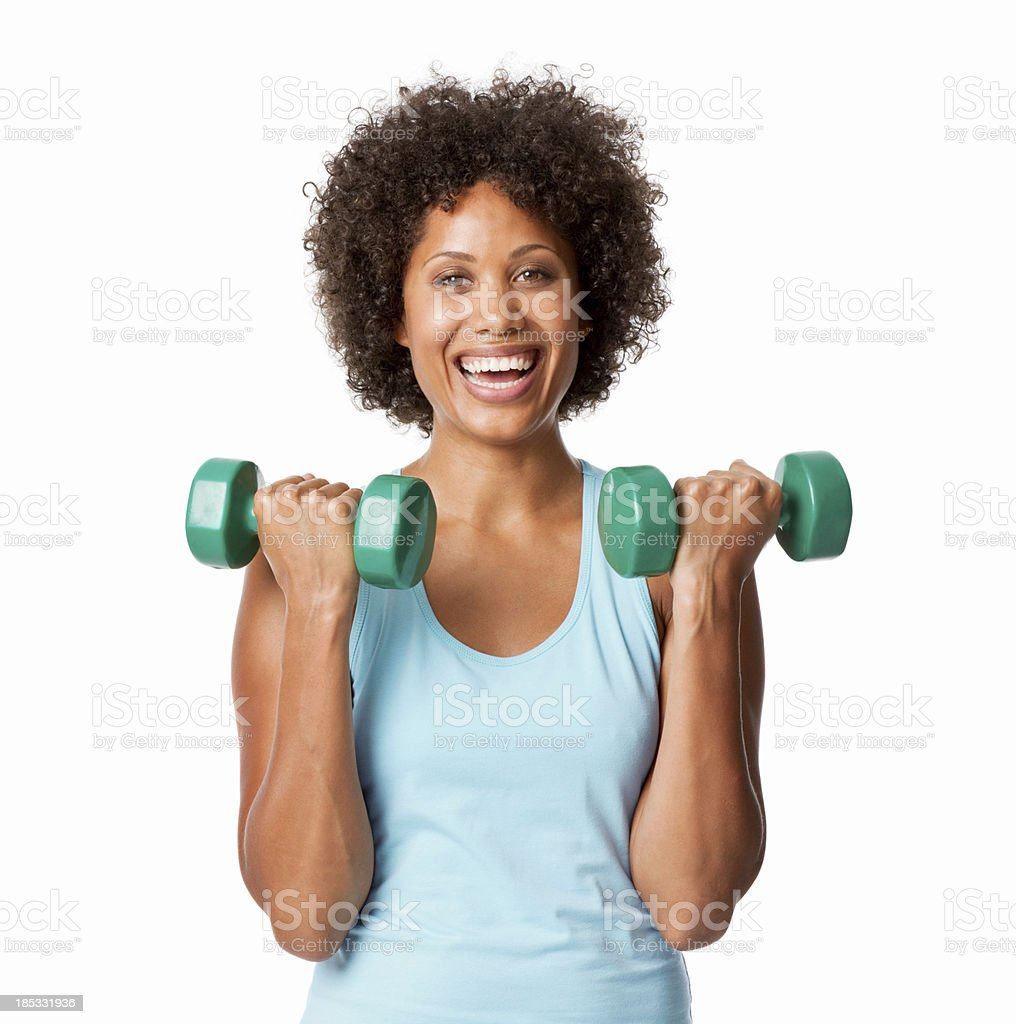Woman Lifting Hand Weights - Isolated stock photo
