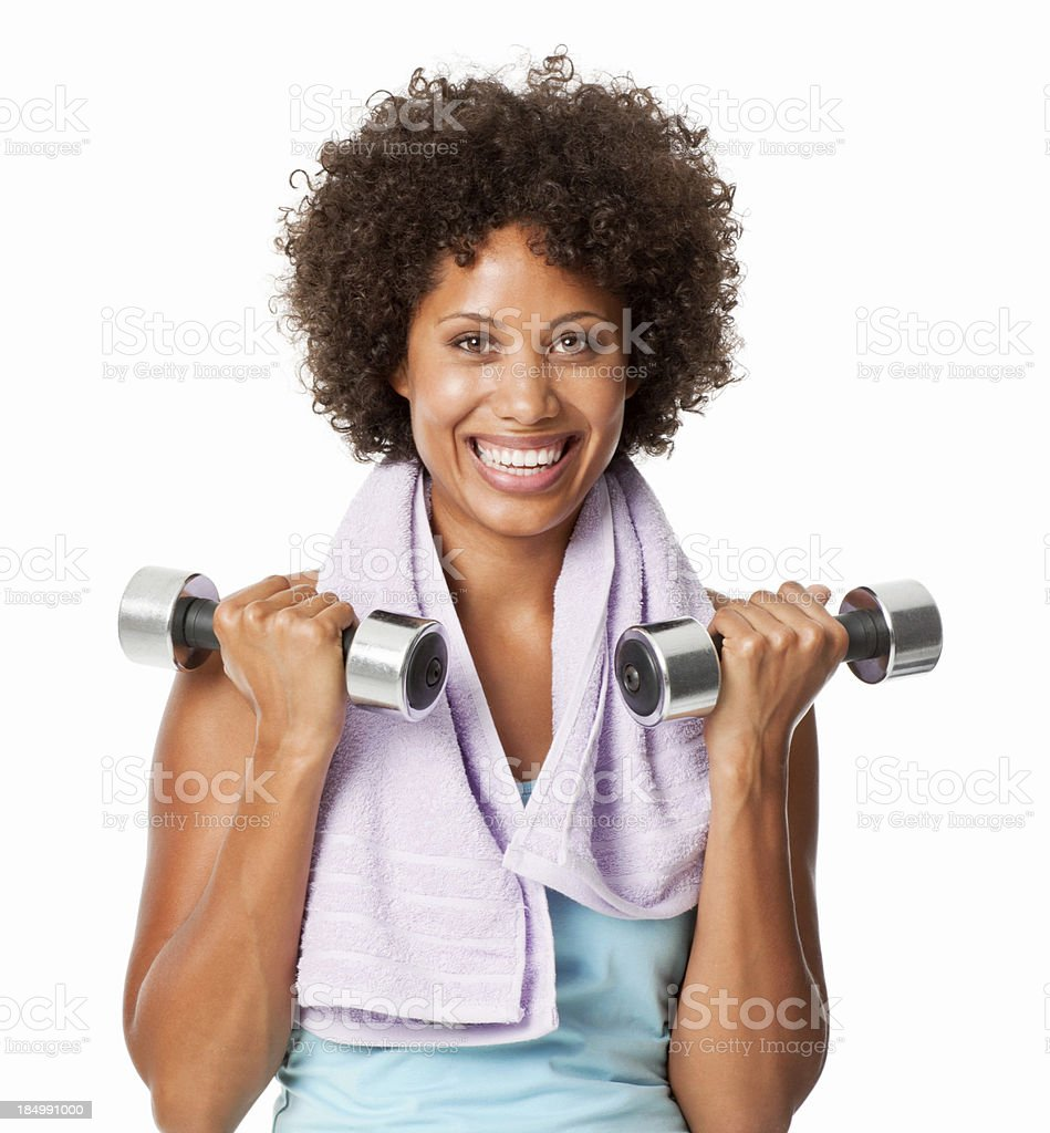 Woman Lifting Hand Weights stock photo