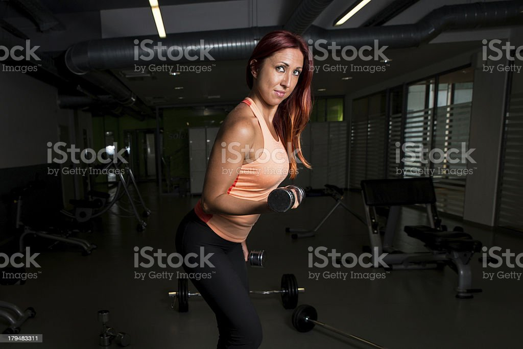 Woman Lifting Weights royalty-free stock photo