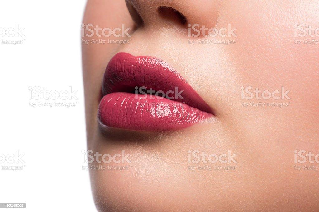 Woman lips with lipstick stock photo