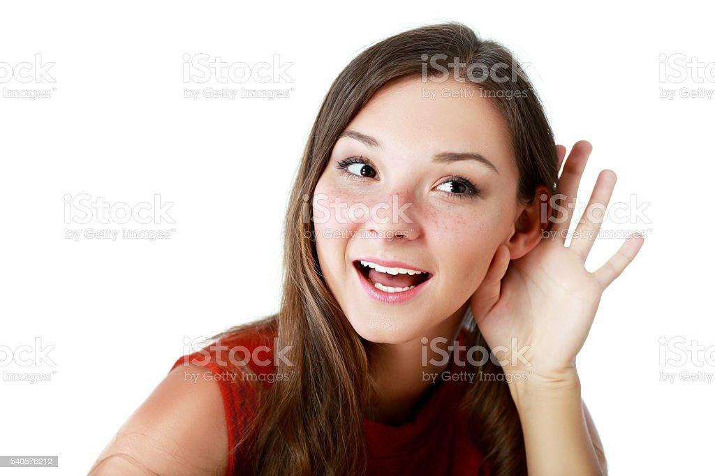 woman listening gossip stock photo