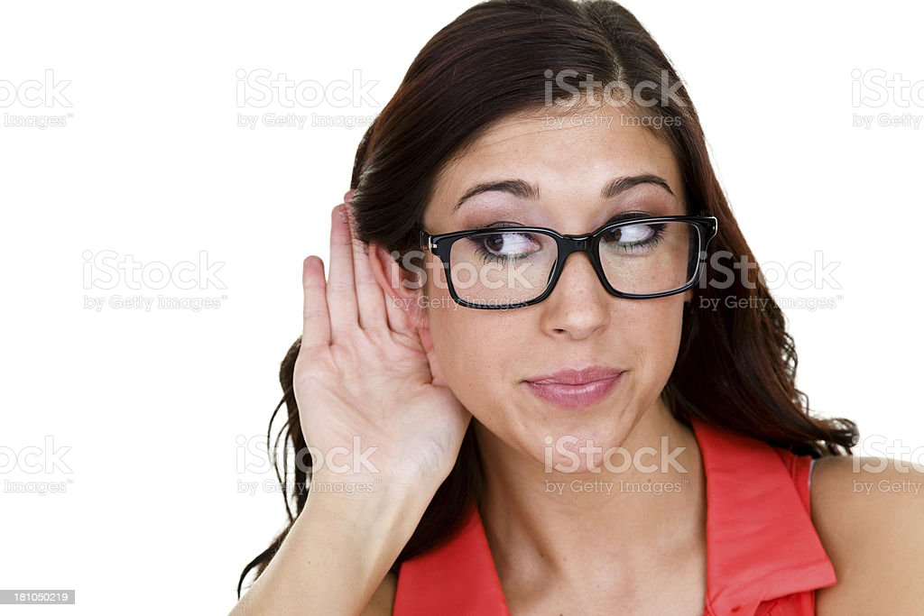 Woman listening royalty-free stock photo