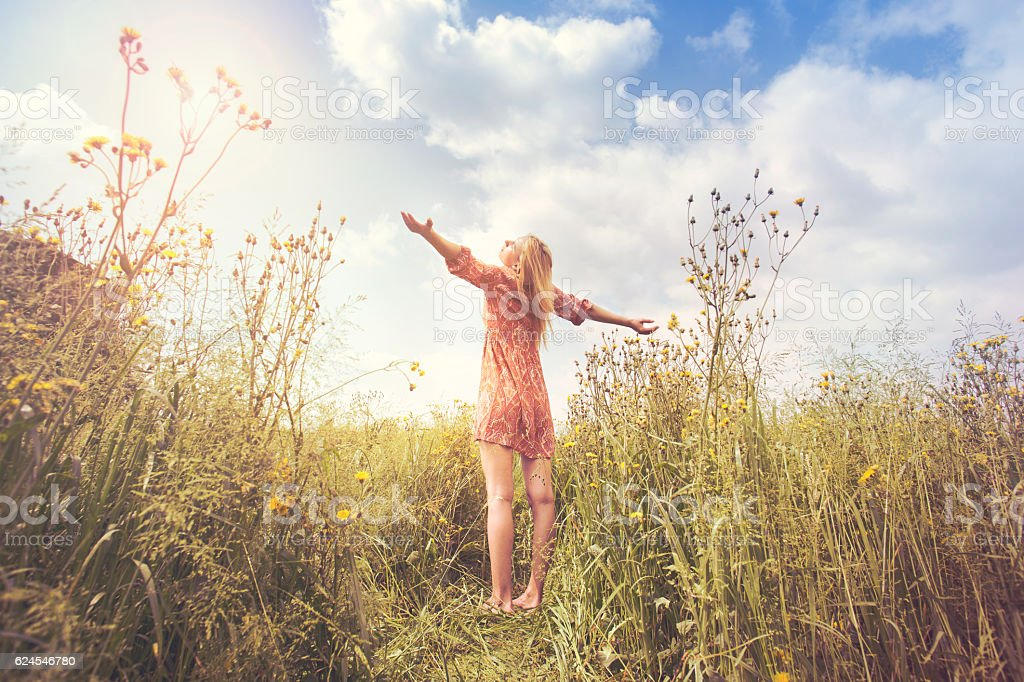 woman lives in harmony  and respect with nature stock photo