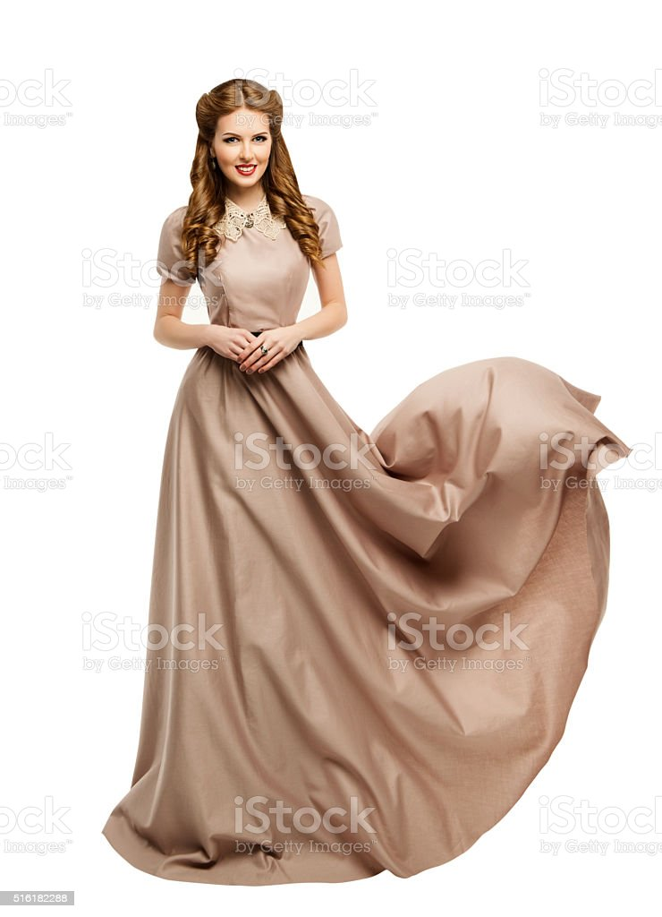 Woman Long Dress, Fashion Model Historical Gown Flying Waving, White stock photo