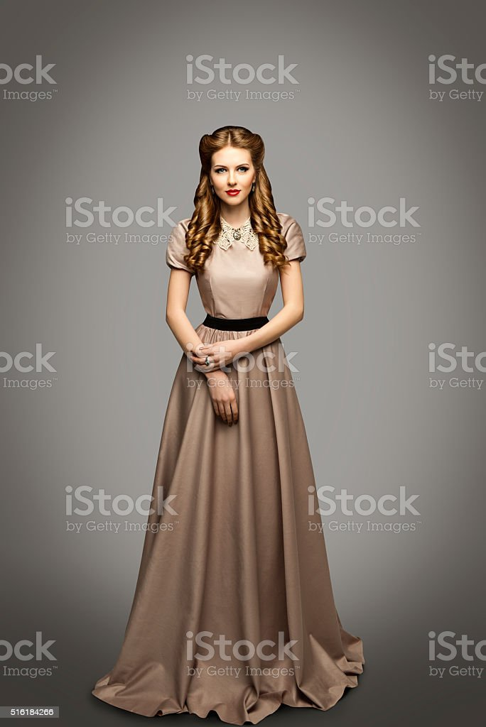 Woman Long Dress, Fashion Model in Historical Gown, Gray stock photo