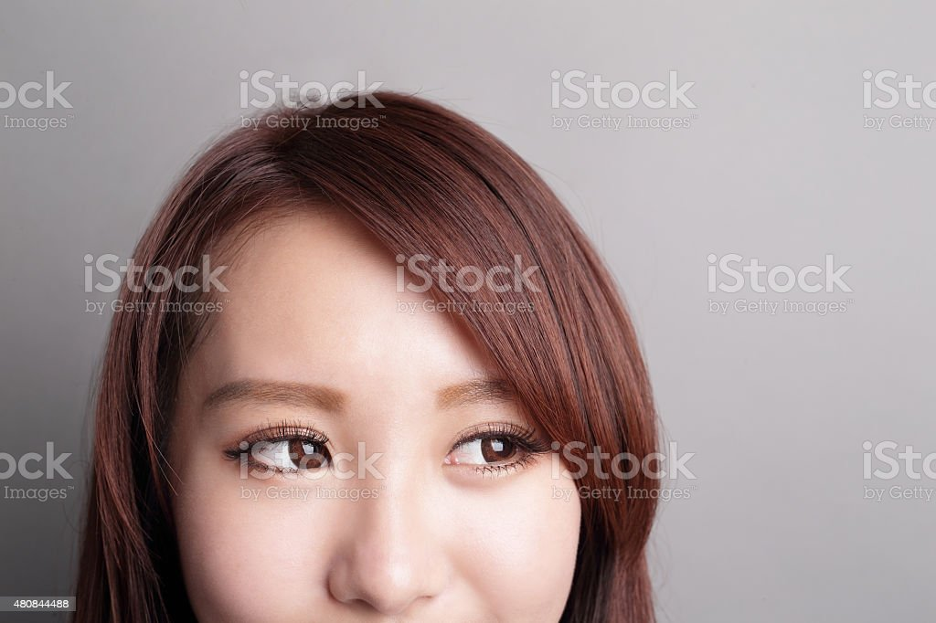 woman look to copy space stock photo