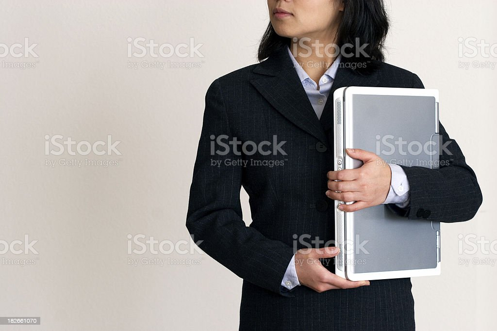 Woman  Looking around with Laptop royalty-free stock photo