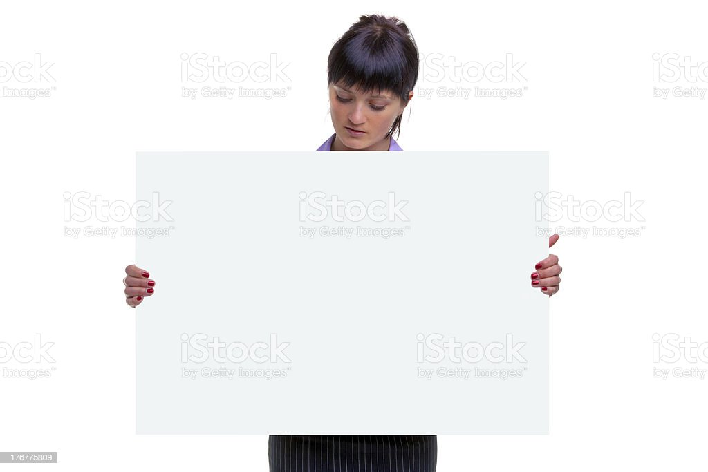 Woman looking at a blank sign royalty-free stock photo