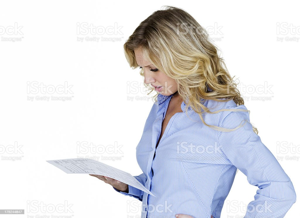 Woman looking at form stock photo