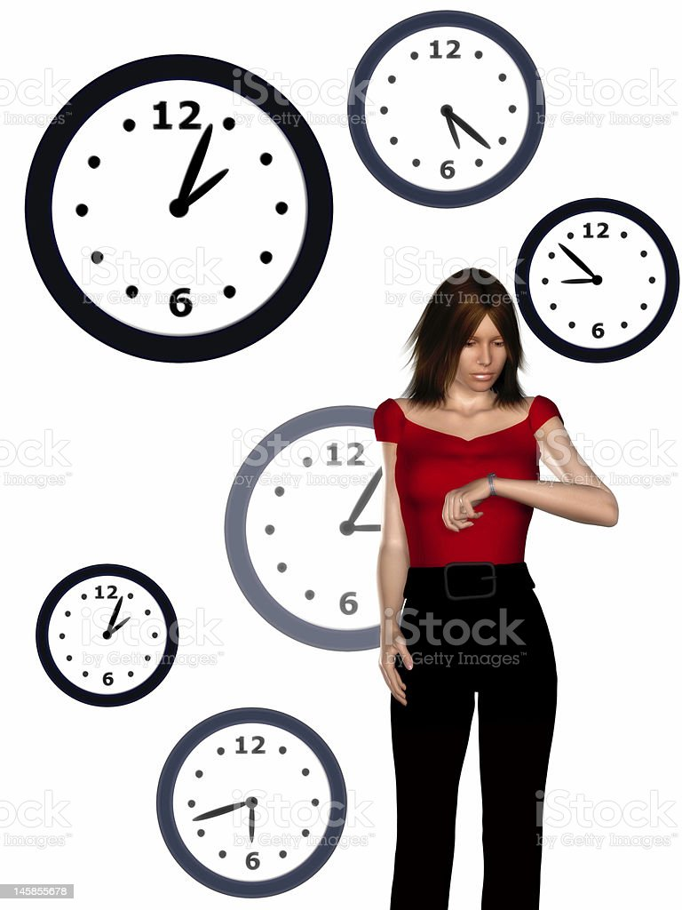 Woman looking at her watch royalty-free stock photo