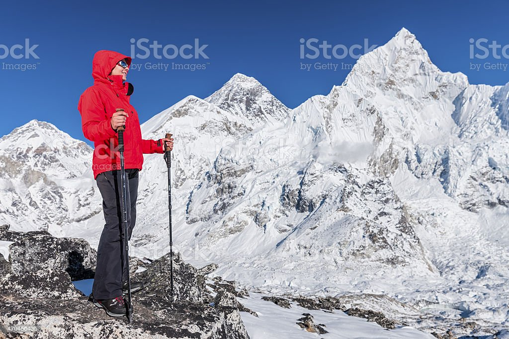 Woman looking at Mount Everest, Top of Th World, Nepal royalty-free stock photo