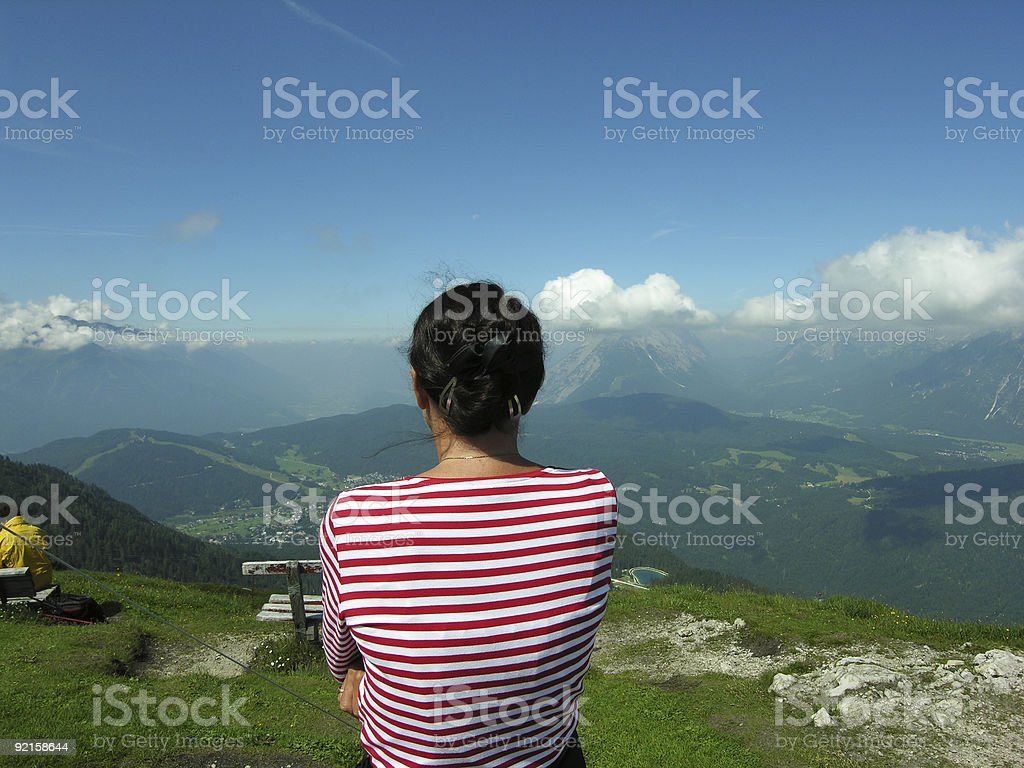 Woman Looking at Mountain Landscape royalty-free stock photo