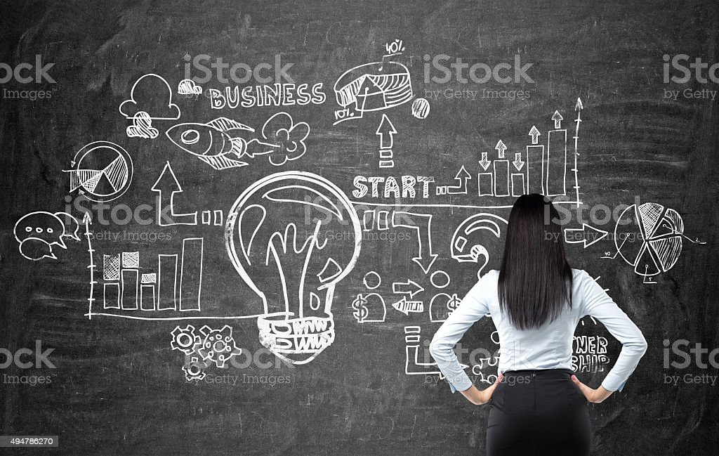 woman looking at the business flowchart on the chalk board stock photo