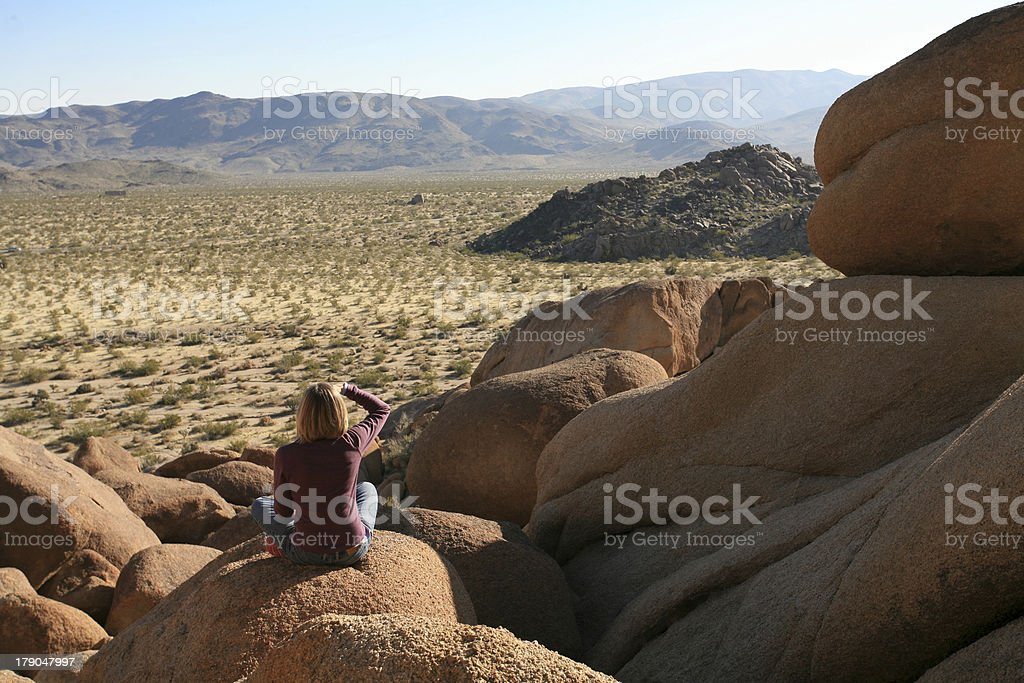 Woman Looking at the Mountains royalty-free stock photo