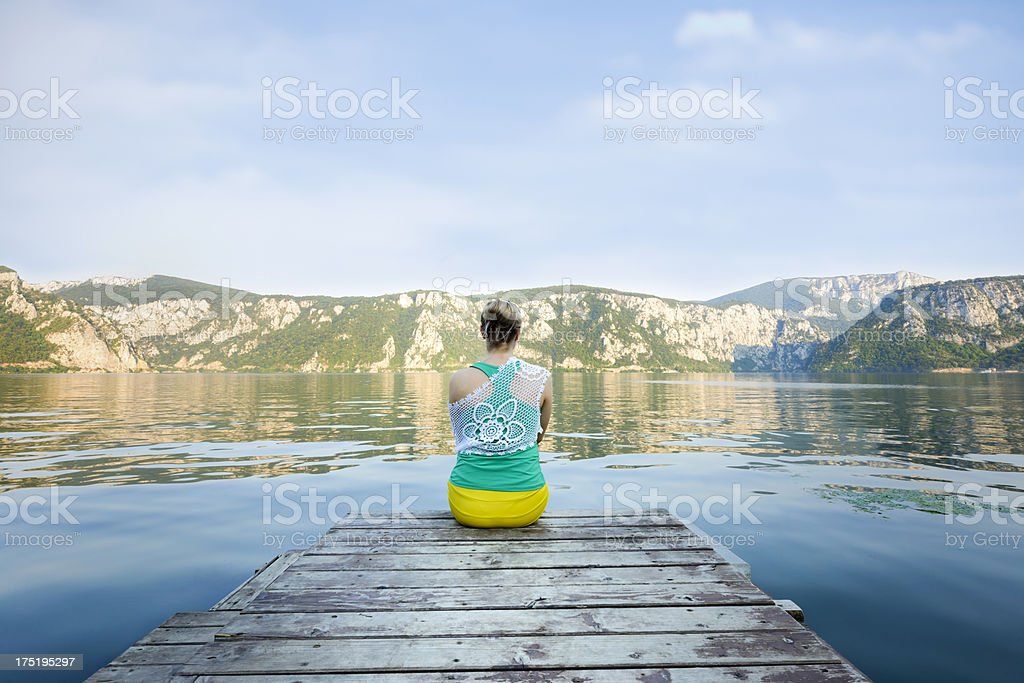 woman looking at view stock photo