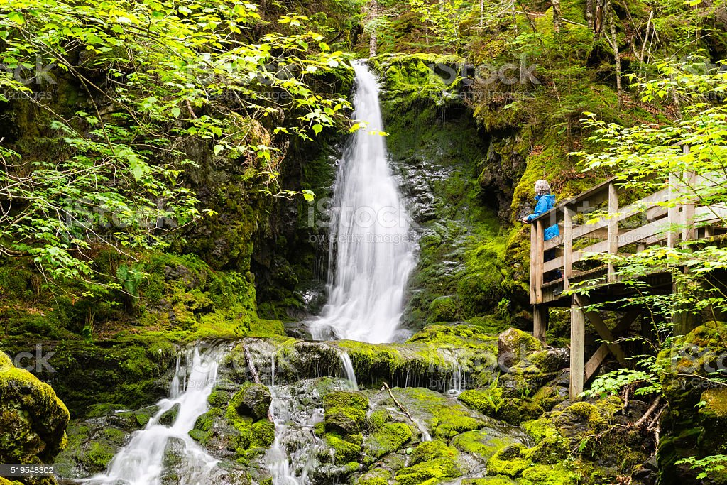 Woman looking at waterfall, Fundy National Park stock photo