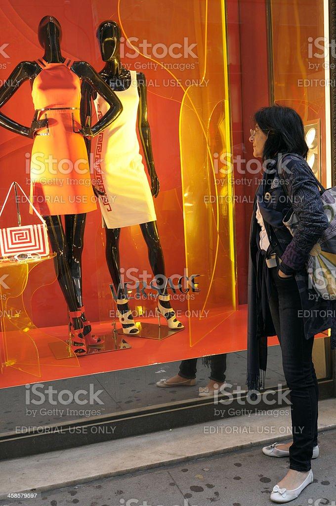 Woman Looking at Window Display,NYC. royalty-free stock photo