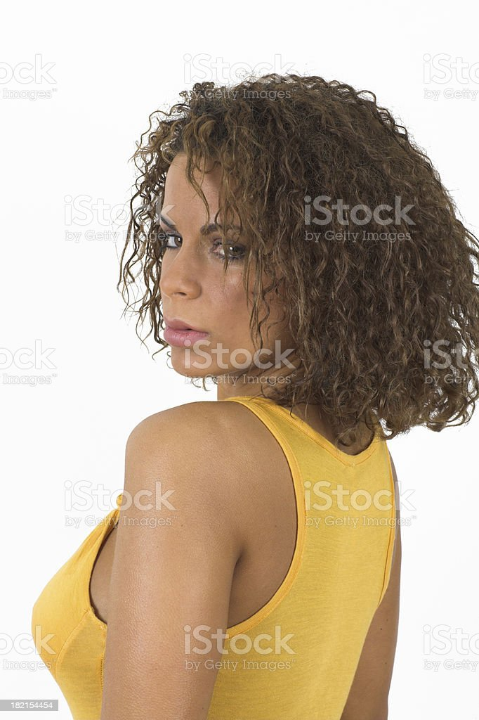 Woman looking back stock photo
